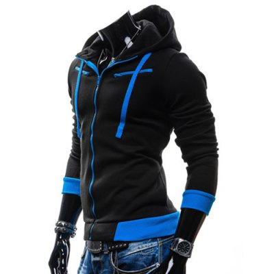 Гаджет   Casual Style Slimming Hooded Zipper Embellished Color Splicing Long Sleeves Men