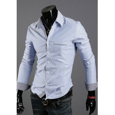 Гаджет   Casual Style Turn-down Collar Slimming Cuffs Checked Splicing Long Sleeves Men