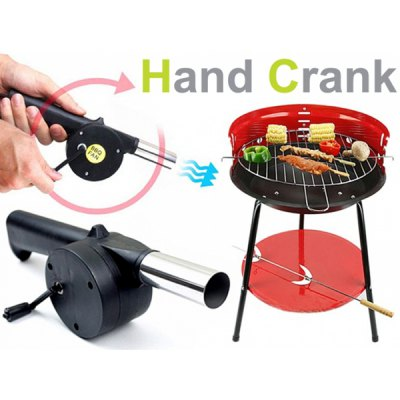 Outdoor Cooking Hand - cranked BBQ Fan Air Blower Green Safe Barbecue Tool