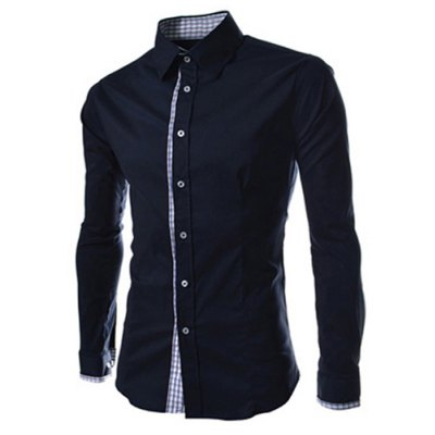 Slimming Trendy Turn-down Collar Checked Print Splicing Long Sleeves Men