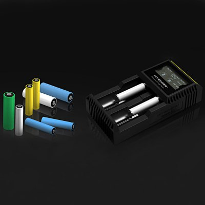 Nitecore D2 Intelligent Digi ChargerChargers<br>Nitecore D2 Intelligent Digi Charger<br><br>Type: Charger<br>Brand: Nitecore<br>Model: D2<br>Plug: US adapter<br>Charging Cell Type: NiCd,Ni-MH,Lithium Ion,LiFePO4<br>Compatible: C,AA,AAA,18650,26650,14500,17670,10440,18350,AAAA,18500,18490,22650,17500,16340 (RCR123)<br>Rechargeable Battery Qty: 2<br>Input Voltage: DC 12V,AC 100~240V 50/60HZ<br>Output Voltage: 4.2V / 3.7V / 1.48V + / - 1pct<br>LCD screen: Yes<br>Circuit Detection: Yes<br>Protected Circuit: Yes<br>Indicator: The light will stop blinking after fully charged<br>Reverse Polarity Protection: Yes<br>Over Voltage Protection: Yes<br>Short Circuit Protection: Yes<br>Over Charging Protection: Yes<br>Over Discharging Protection: Yes<br>Product weight: 0.168 kg<br>Package weight: 0.4 kg<br>Product size (L x W x H): 14.3 x 7.4 x 3.6 cm / 5.63 x 2.91 x 1.42 inches<br>Package size (L x W x H): 10 x 10 x 5 cm<br>Package Contents: 1 x Nitecore D2 Smart Digital Battery Charger