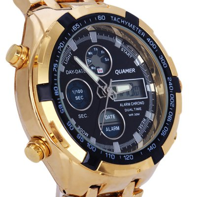 ФОТО Quamer SD - 165 New Design Male Quartz Watch with Round Dial Date Steel Watchband