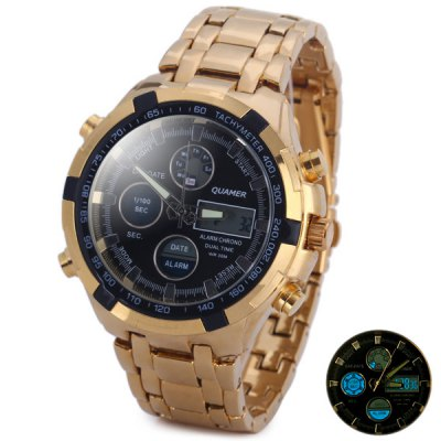 Quamer SD - 165 New Design Male Quartz Watch with Round Dial Date Steel Watchband