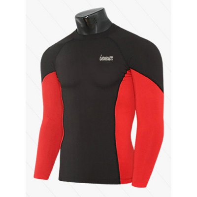 active-style-slimming-long-sleeves-round-neck-logo-print-quick-dry-close-fitting-color-block-men-cotton-blend-t-shirt