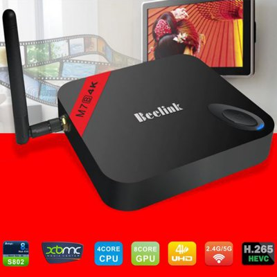 Beelink M7B Quad - Core 4K Multimedia Android 4.4.2 TV Box Built - in Antenna for 5GHz WiFi Bluetooth ( 2GB RAM 8GB ROM )