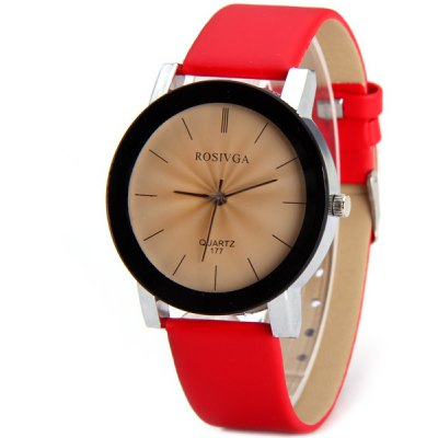 Rosivga 177 Delicate Leather Band Women Quartz Watch with Stripes Display Round Dial