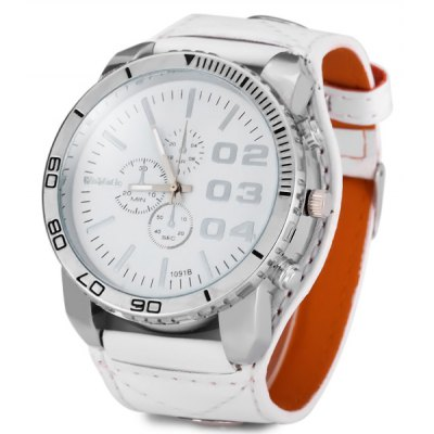 WOMAGE1091B Men Pointer Quartz Watch (PU Watchband + Stainless Steel Back + Round Dial + Pin Buckle)