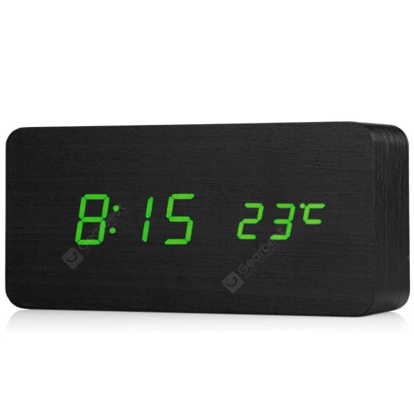 Novelty Rechargeable Green Light LED Rectangle Black Wooden Electronic Clock Alarm with Sound Contro