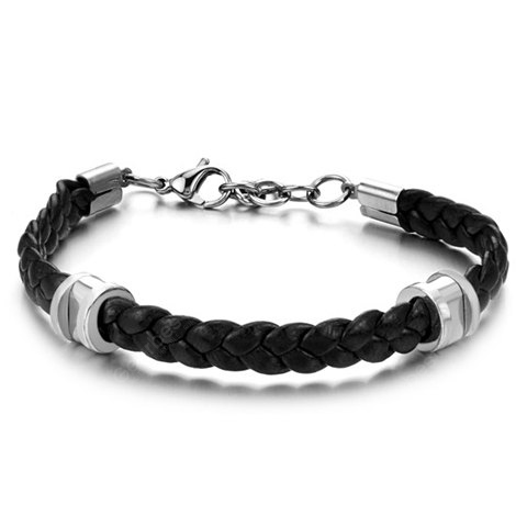 Image For Stylish Leather Braided Link Bracelet For Men