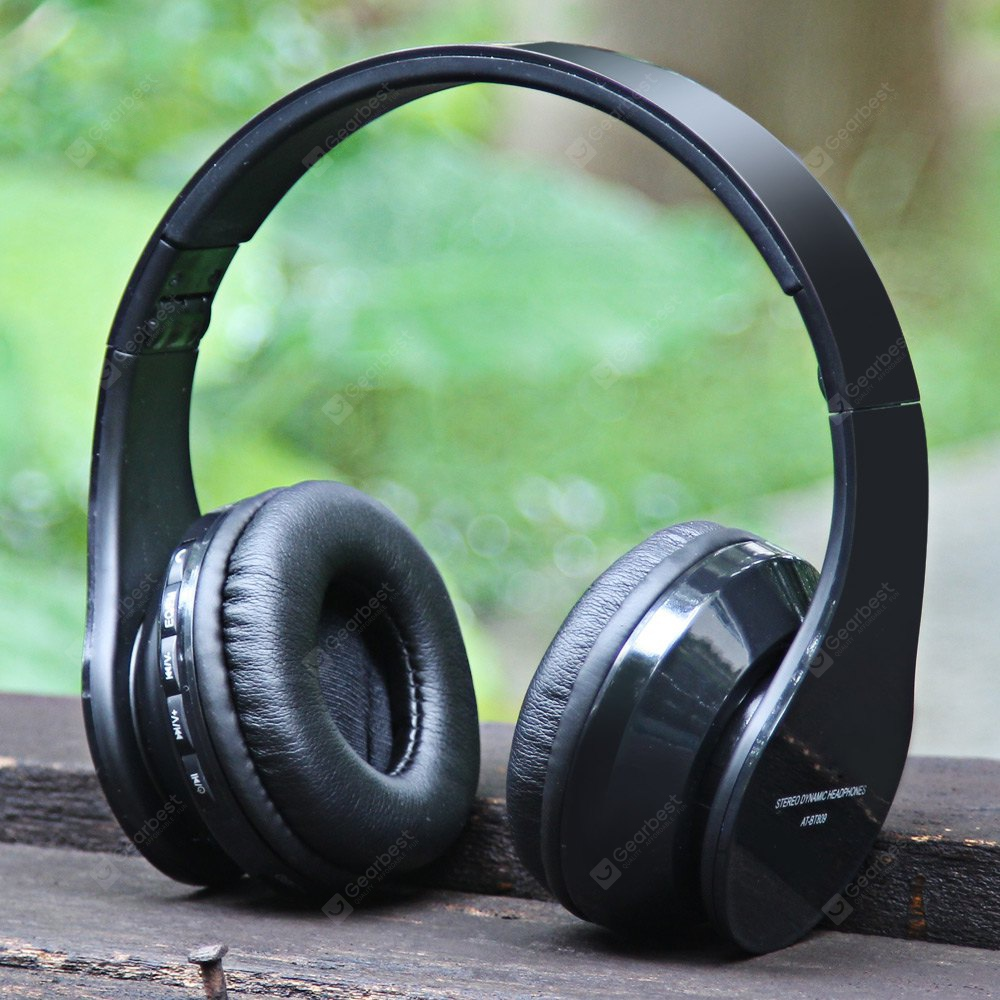AIAT AT - BT809 Foldable Hands Free Headset Music Headphone with Mic FM Radio Support TF Card