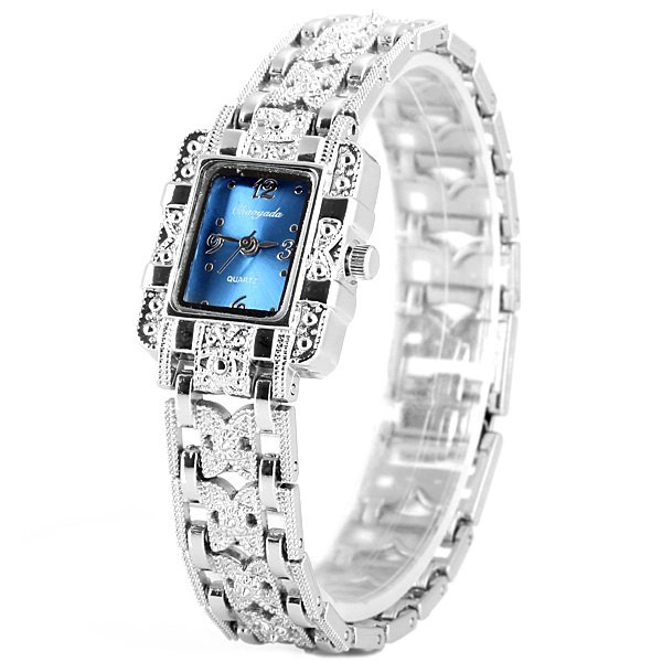 Image For Chaoyada Fashional Ladys Quartz Chain Watch with Steel Watchband Rectangle Dial