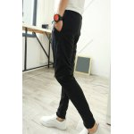 Buy Casual Style Lace-Up Slimming Leather Pocket Narrow Feet Men's Cotton Blend Parachute Pants M BLACK