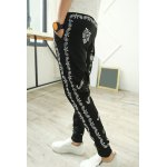 Buy Casual Style Lace-Up Slimming Ethnic Print Elastic Cuffs Narrow Feet Men's Cotton Blend Harem Pants M BLACK