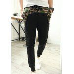 Buy Casual Style Lace-Up Slimming Camo Splicing Elastic Cuffs Narrow Feet Men's Cotton Blend Pants M BLACK
