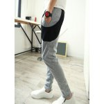 Buy Slimming Trendy Lace-Up Color Block Splicing Narrow Feet Men's Cotton Blend Harem Pants M LIGHT GRAY