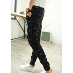 Buy Casual Style Lace-Up Slimming Color Block Dot Letters Print Narrow Feet Men's Cotton Blend Pants XL BLACK