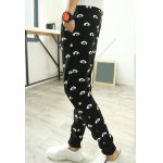 Buy Loose-Fitting Color Block Eyes Print Lace-Up Slimming Narrow Feet Men's Cotton Blend Pants XL BLACK
