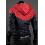 Buy Casual Style Slimming Fashion Color Block Design Hooded Long Sleeves Men's Cotton Blend Jacket L RED