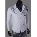 cheap Personality Tattoo Long Sleeves Cotton Blend Floral Shirt For Men