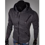 Buy Casual Style Hooded Multi-Zipper Embellished Solid Color Slimming Long Sleeves Men's Cotton Blend Hoodies XL DEEP GRAY