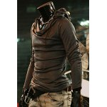 Buy Simple Style Slimming Hooded Solid Color Heaps Collar Design Long Sleeves Men's Cotton Blend Hoodies M DEEP GRAY