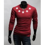 Buy Simple Style Five-Pointed Star Print Round Neck Slimming Long Sleeves Men's Cotton Blend T-Shirt L WINE RED