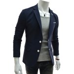 Buy Multi-Pocket Embellished Slimming Color Splicing Lapel Fashion Design Long Sleeves Men's Cotton Blend Blazer L CADETBLUE