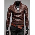 Buy Trendy Slimming Long Sleeves Stand Collar Multi-Zipper Design Shoulder Mark Embellished Solid Color Men's Leather Jacket M