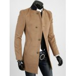 Buy Casual Style Slimming Long Sleeves Stand Collar Color Block Single-Breasted Men's Woolen Trench Coat L YELLOW
