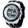 Buy HPOLW 584 Male Fashion Watch Japan Dual Movtz Light Alarm Round Dial Rubber Watchband WHITE