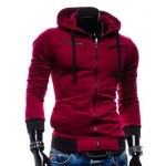 Buy Casual Style Slimming Hooded Zipper Embellished Color Splicing Long Sleeves Men's Thicken Cotton Blend Sport Coat M WINE RED