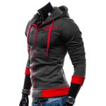 Buy Casual Style Slimming Hooded Zipper Embellished Color Splicing Long Sleeves Men's Thicken Cotton Blend Sport Coat L DEEP GRAY