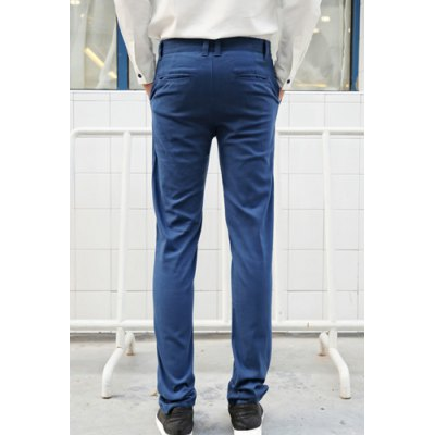 Casual Style Straight Leg Zipper Fly Solid Color Metal Embellished Men's Cotton Blend Pants от GearBest.com INT