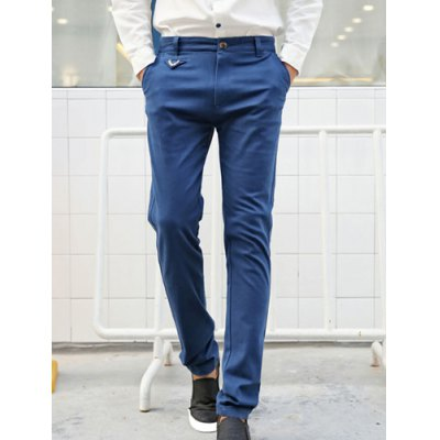 Гаджет   Casual Style Straight Leg Zipper Fly Solid Color Metal Embellished Men