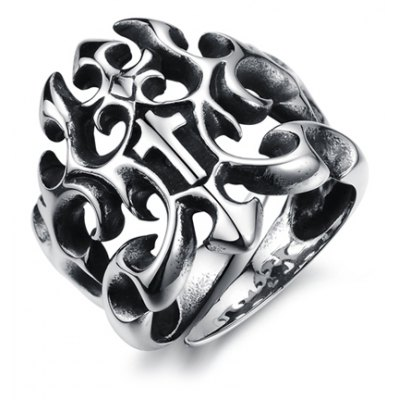 Solid Color Openwork Ring For Men