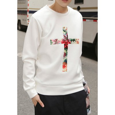 Гаджет   Stylish Round Neck Loose Fit Hit Color Floral Cross Printed Long Sleeve Cotton Sweatshirt For Men Hoodies