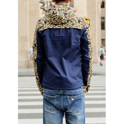Гаджет   Stylish Hooded Fitted Large Pocket Camo Splicing Long Sleeve Polyester Jacket For Men Jackets & Coats