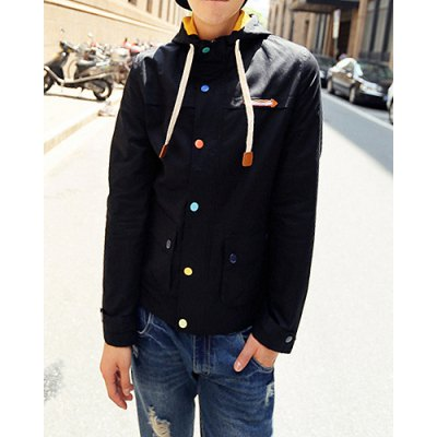 Гаджет   Stylish Hooded Fitted Large Pocket Colorful Buttons Long Sleeve Polyester Jacket For Men Jackets & Coats