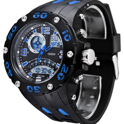 Гаджет   OHSEN AD2801 LED Quartz Digital Military Watch 3ATM Waterproof Double Movtz Date Week Watch for Sports Sports Watches