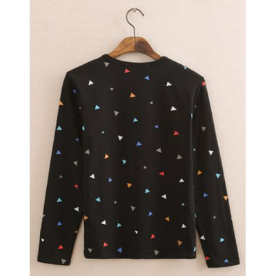 Гаджет   Stylish Round Neck Slimming Colorful Triangles Printed Long Sleeve Polyester T-Shirt For Men Men