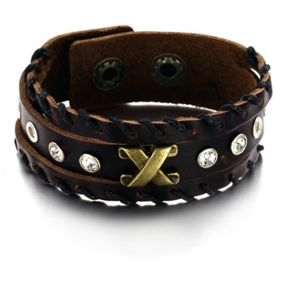 Chic Rhinestone X Letter Leather Chain Bracelet For Men en Gearbest