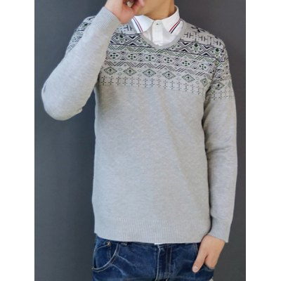 Гаджет   Casual Style V-Neck Long Sleeves Abstract Print Slimming Men