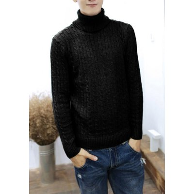 Гаджет   Casual Style Turtleneck Long Sleeves Solid Color Slimming Men