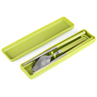 ФОТО Portable Cutlery Set 3Pcs Stainless Steel Spoon Chopsticks with Box