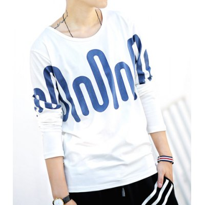 Гаджет   Casual Style Round Neck Slimming Color Block Abstract Print Long Sleeves Men