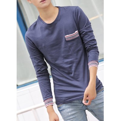 Гаджет   Casual Style Long Sleeves Round Neck Abstract Print Splicing Pocket Slimming Men