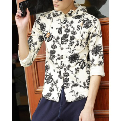 Гаджет   Casual Style Hooded Long Sleeves Floral Print Button Design Slimming Men