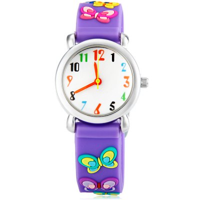 Christmas Gift Children Watch Butterfly Pattern Round Dial Rubber Watch BandKids Watches<br>Christmas Gift Children Watch Butterfly Pattern Round Dial Rubber Watch Band<br><br>Watches categories: Children watch<br>Watch style: Lovely<br>Available Color: Red, Purple<br>Movement type: Quartz watch<br>Shape of the dial: Round<br>Display type: Pointer<br>Case material: Stainless steel<br>Band material: Rubber<br>Clasp type: Pin buckle<br>The dial thickness: 0.7 cm / 0.3 inches<br>The dial diameter: 2.5 cm / 1.0 inches<br>The band width: 1.5 cm / 0.6 inches<br>Product weight: 0.024 kg<br>Product size (L x W x H) : 20.5 x 2.5 x 0.7 cm / 8.1 x 1.0 x 0.3 inches<br>Package contents: 1 x Watch