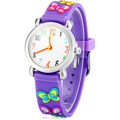 Christmas Gift Children Watch Butterfly Pattern Round Dial Rubber Watch Band