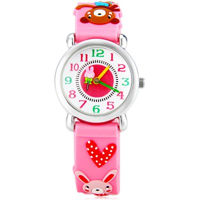 Christmas Gift Children Quartz Watch Rabbit Pattern Round Dial Rubber Watch BandKids Watches<br>Christmas Gift Children Quartz Watch Rabbit Pattern Round Dial Rubber Watch Band<br><br>Watches categories: Children watch<br>Watch style: Lovely<br>Available Color: Pink, Purple<br>Movement type: Quartz watch<br>Shape of the dial: Round<br>Display type: Pointer<br>Case material: Stainless steel<br>Band material: Rubber<br>Clasp type: Pin buckle<br>The dial thickness: 0.7 cm / 0.3 inches<br>The dial diameter: 2.5 cm / 1.0 inches<br>The band width: 1.5 cm / 0.6 inches<br>Product weight: 0.024 kg<br>Product size (L x W x H) : 20.5 x 2.5 x 0.7 cm / 8.1 x 1.0 x 0.3 inches<br>Package contents: 1 x Watch